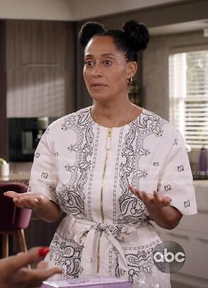 Rainbow's white bandana print jumpsuit on Black-ish