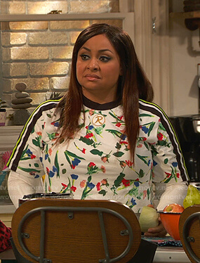 Raven's white floral print cropped tee on Ravens Home