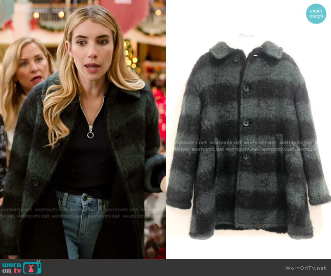 RED Valentino Striped Coat worn by Sloan (Emma Roberts) on Holidate (2020)