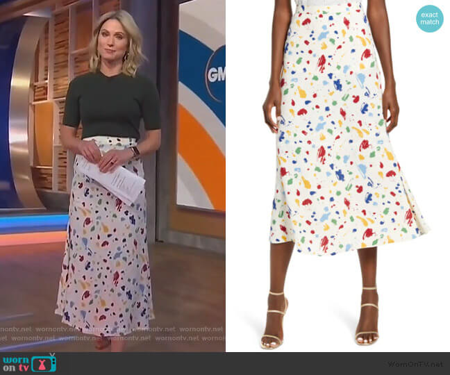 Bea Midi Skirt by Reformation worn by Amy Robach  on Good Morning America