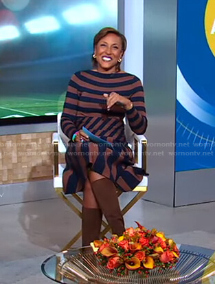 Robin's black and brown striped dress on Good Morning America
