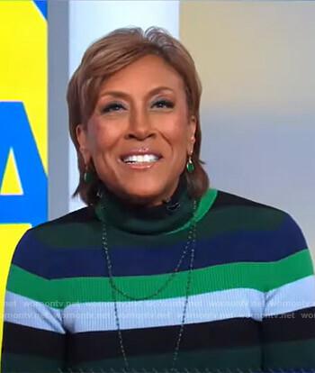 Robin's multicolor striped turtleneck dress on Good Morning America