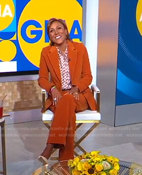 Robin's orange corduroy suit on Good Morning America
