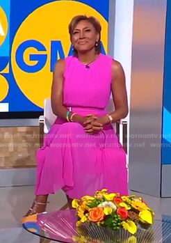 Robin's pink pleated midi dress on Good Morning America