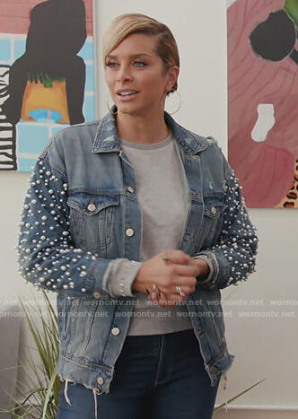 Robin's pearl embellished denim jacket on The Real Housewives of Potomac