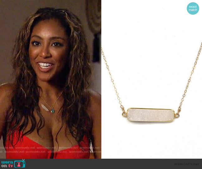 You Aare Beautiful Necklace by Robyn Rhodes worn by Tayshia Adams  on The Bachelorette