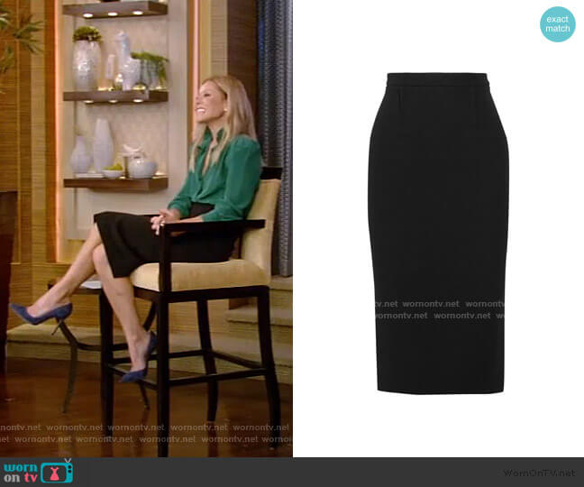 Arreton Fitted Pencil Skirt by Roland Mouret worn by Kelly Ripa  on Live with Kelly & Ryan