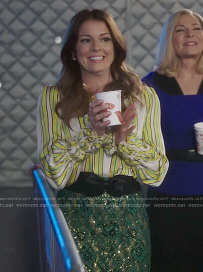 Rose's yellow striped blouse and green sequin skirt on Filthy Rich