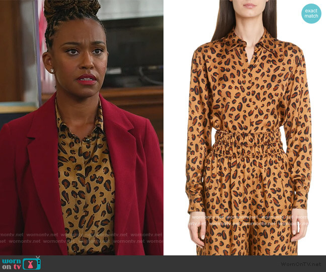 Leopard Print Relaxed Shirt by Rosetta Getty worn by Ryan Michelle Bathe on All Rise worn by Rachel Audubon (Michelle Bathe) on All Rise