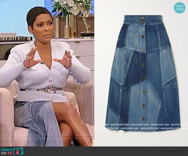 Patchwork denim midi skirt by Saint Laurent worn by Tamron Hall  on Tamron Hall Show