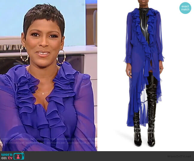 Ruffle Trim Sheer Silk Duster by Saint Laurent worn by Tamron Hall  on Tamron Hall Show