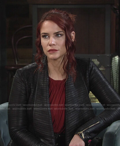 Sally's black pleated leather jacket on The Young and the Restless