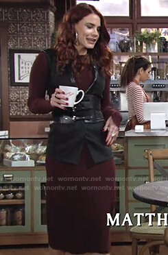 Sally's burgundy ribbed knit dress on The Young and the Restless