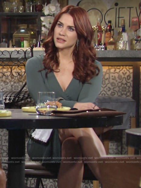 Sally's green long sleeved dress on The Young and the Restless