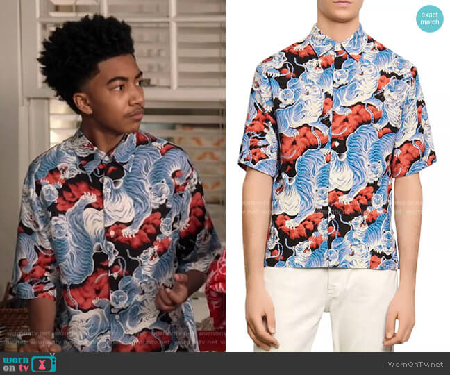 Tiger Casual Short Sleeve Button-Up Shirt by Sandro worn by Jack Johnson (Miles Brown) on Blackish