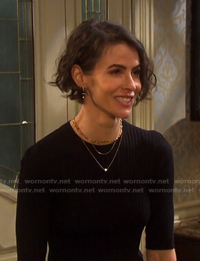 Sara's black ribbed elbow-sleeve top on Days of our Lives