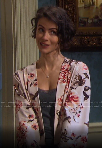 Sarah's blush pink floral robe on Days of our Lives