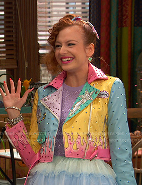 Sasha's pastel colorblock moto jacket on Ravens Home