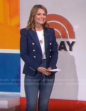 Savannah's navy blazer and tie waist jeans on Today