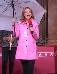 Savannah's pink raincoat at Macy's Thanksgiving Parade