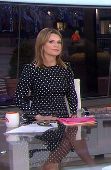 Savannah's black polka dot dress on Today