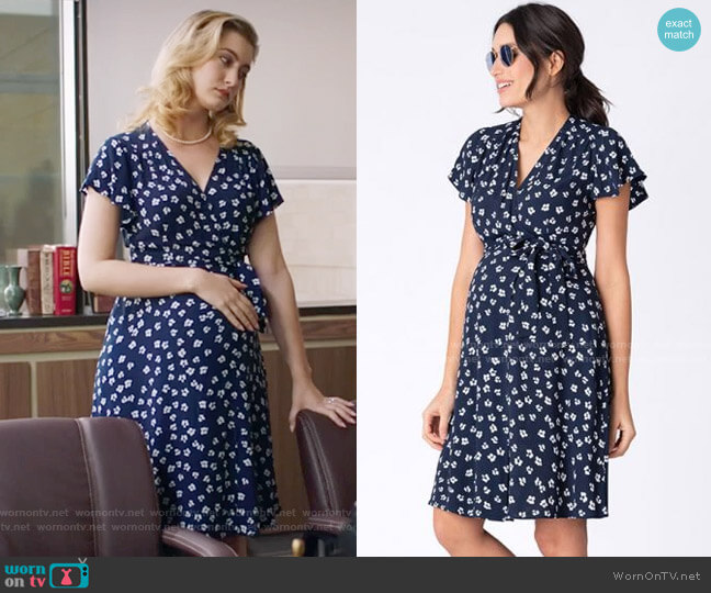 Seraphine Navy Floral Wrap Maternity Dress worn by Becky Monreaux (Olivia Macklin) on Filthy Rich