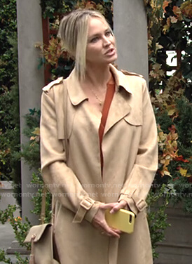 Sharon's beige suede trench coat on The Young and the Restless
