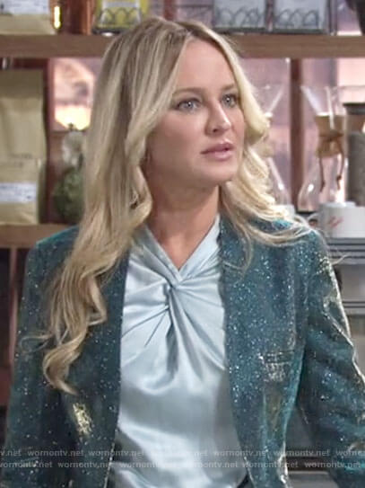 Sharon's blue twist neck top and glittery jacket on The Young and the Restless