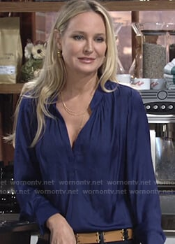 Sharon's blue v-neck blouse on The Young and the Restless
