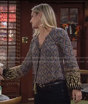 Sharon's blue printed tie neck blouse on The Young and the Restless