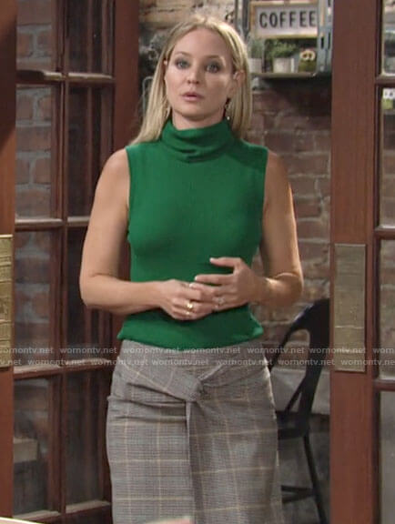 Sharon's green sleeveless turtleneck on The Young and the Restless