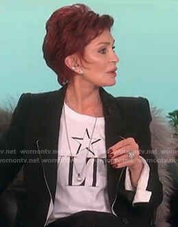 Sharon's white VLTN logo tee on The Talk
