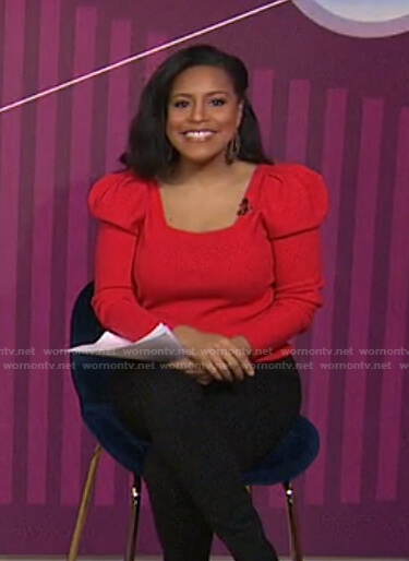 Sheinelle's red puff sleeve square neck sweater on Today