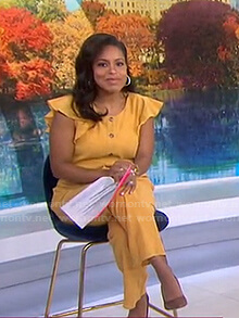 Sheinelle's yellow ruffle jumpsuit on Today