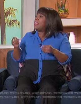 Sheryl's blue colorblock shirt on The Talk