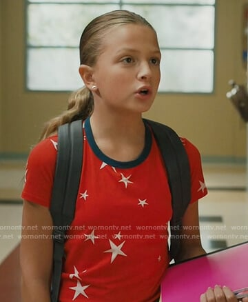 Anna's red star print ringer tee on American Housewife