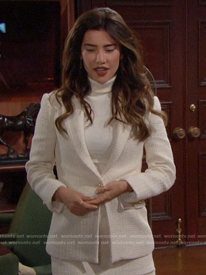 Steffy's white tweed shorts suit on The Bold and the Beautiful