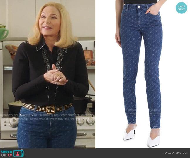Stella McCartney Monogram Skinny Jeans worn by Margaret Monreaux (Kim Cattrall) on Filthy Rich
