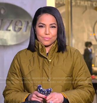 Stephanie's khaki green puffer coat on Good Morning America