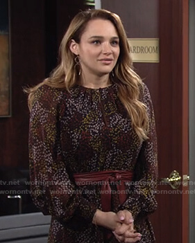 Summer's black floral dress on The Young and the Restless