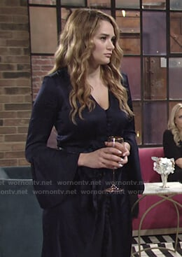 Summer's navy button front v-neck dress on The Young and the Restless
