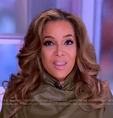 Sunny's green leather drape blouse on The View