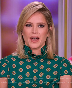 Sara's green print ruffle neck top on The View