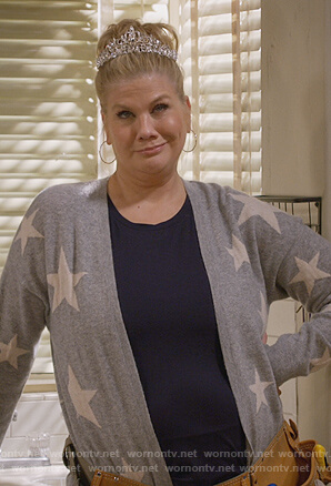 Tammy's gray star print cardigan on Mom