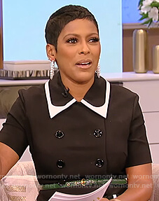 Tamron's black contrast trim blazer dress on Tamron Hall Show