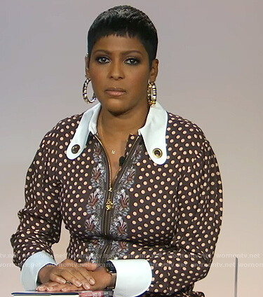 Tamron's brown polka dot dress on Tamron Hall Show