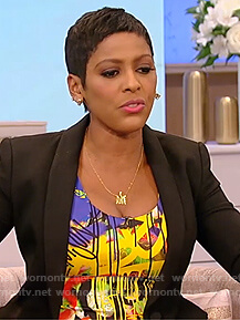 Tamron's graffiti print dress on The Tamron Hall Show