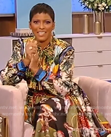 Tamron's fruit print shirtdress on Tamron Hall Show