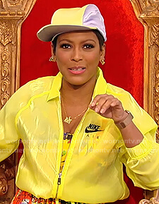 Tamron's neon Nike jacket on Tamron Hall Show