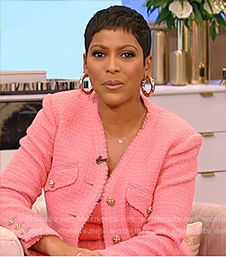 Tamron's pink tweed jacket on Tamron Hall Show